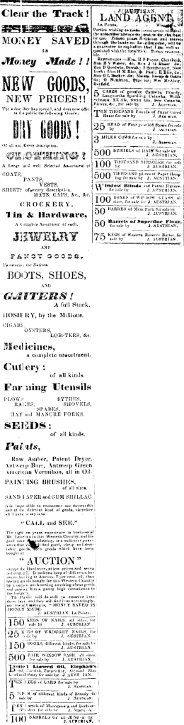 Advertisements of Julius Austrian (Bayfield Mercury, Month? Day?, 1857)