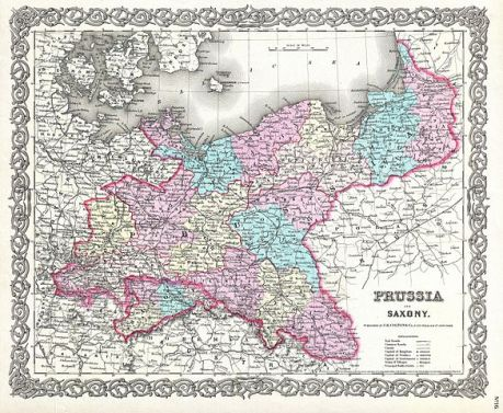 1856 Colton Map of Prussia and Saxony, Germany (WikiMedia.org).