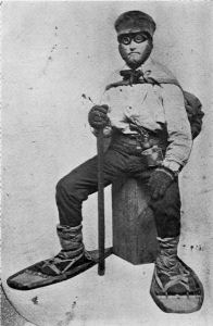 """Asaph Whittlesey dressed for his journey from Ashland to Madison, Wisconsin, to take up his seat in the state legislature. Whittlesey is attired for the long trek in winter gear including goggles, a walking staff, and snowshoes."" Circa 1860. ~ Wisconsin Historical Society"
