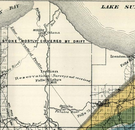 Details of settlements on the La Pointe Reservation from Charles Whittlesey's 1860 Geological Map of the Penokie Range.