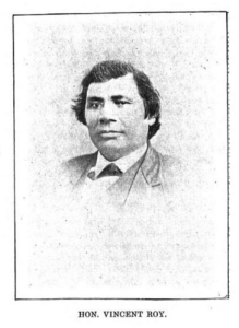 "Vincent Roy, Jr., portrait from ""Short biographical sketch of Vincent Roy, [Jr.,]"" in Life and Labors of Rt. Rev. Frederic Baraga, by Chrysostom Verwyst, 1900, pages 472-476."